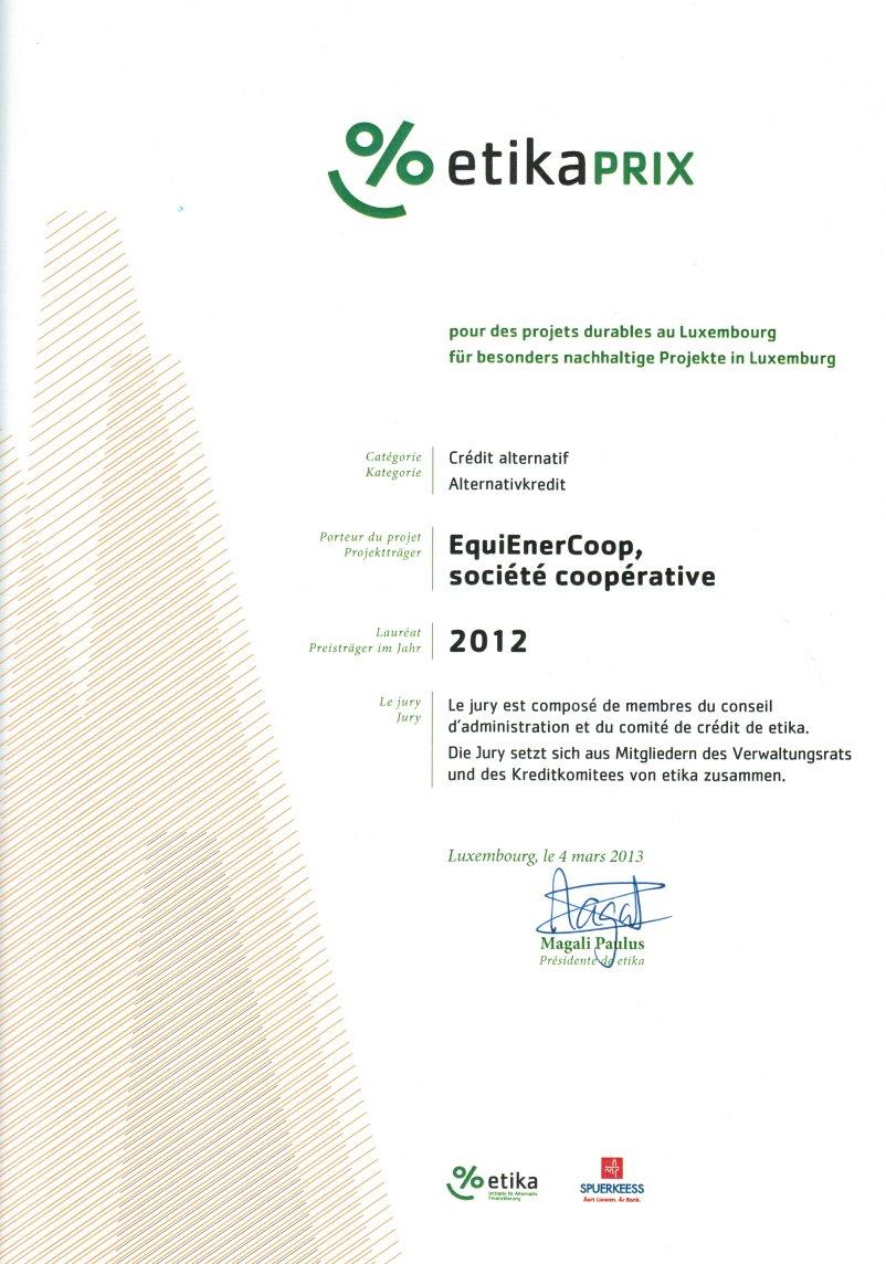 Prix etika 2012